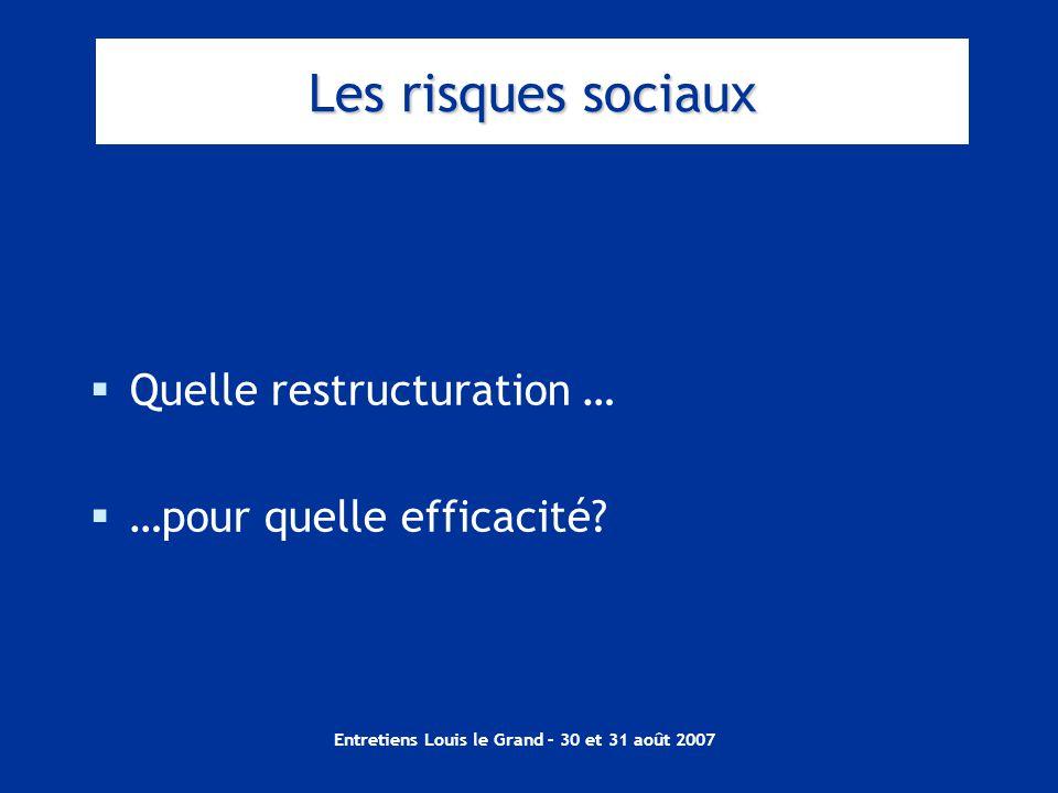 Entretiens Louis le Grand – 30 et 31 août 2007 Les risques sociaux  Quelle restructuration …  …pour quelle efficacité