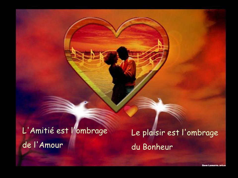 L Amitié est l ombrage de l Amour Le plaisir est l ombrage du Bonheur