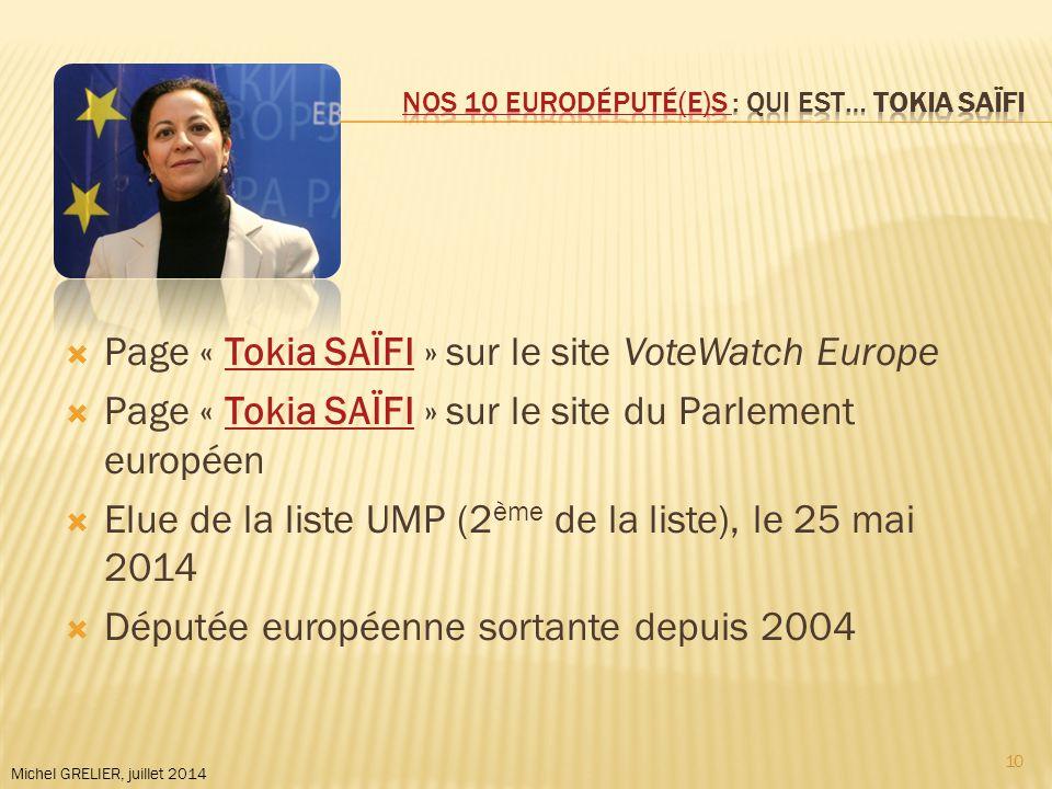 Michel GRELIER, juillet 2014  Page « Tokia SAÏFI » sur le site VoteWatch EuropeTokia SAÏFI  Page « Tokia SAÏFI » sur le site du Parlement européenTokia SAÏFI  Elue de la liste UMP (2 ème de la liste), le 25 mai 2014  Députée européenne sortante depuis 2004 10