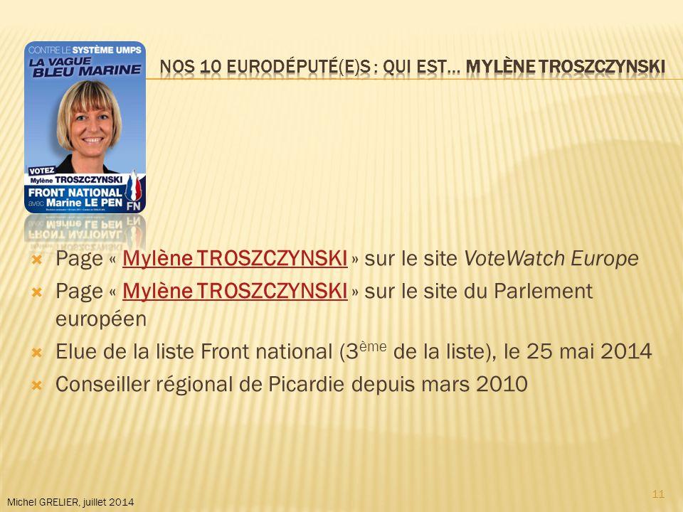 Michel GRELIER, juillet 2014  Page « Mylène TROSZCZYNSKI » sur le site VoteWatch EuropeMylène TROSZCZYNSKI  Page « Mylène TROSZCZYNSKI » sur le site du Parlement européenMylène TROSZCZYNSKI  Elue de la liste Front national (3 ème de la liste), le 25 mai 2014  Conseiller régional de Picardie depuis mars 2010 11