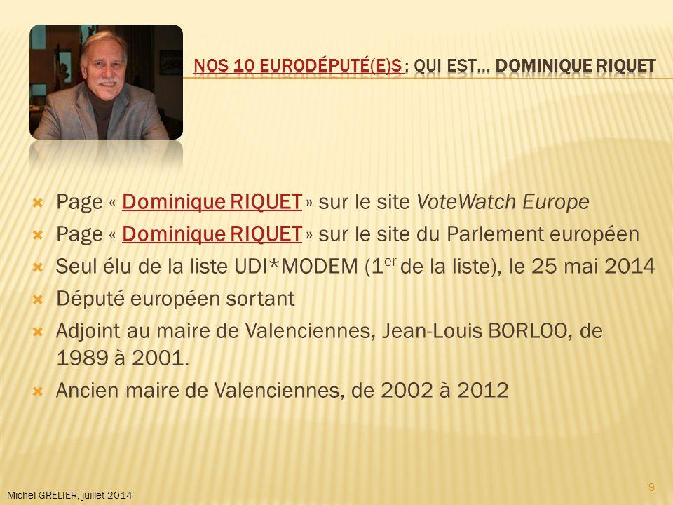 Michel GRELIER, juillet 2014  Page « Dominique RIQUET » sur le site VoteWatch EuropeDominique RIQUET  Page « Dominique RIQUET » sur le site du Parlement européenDominique RIQUET  Seul élu de la liste UDI*MODEM (1 er de la liste), le 25 mai 2014  Député européen sortant  Adjoint au maire de Valenciennes, Jean-Louis BORLOO, de 1989 à 2001.