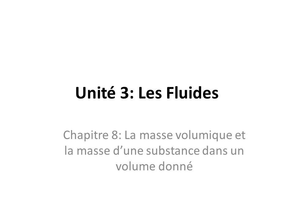 Unité 3: Les Fluides Chapitre 8: La masse volumique et la masse d'une substance dans un volume donné