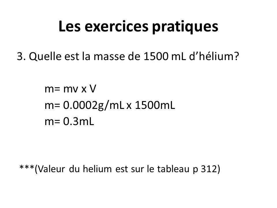 Les exercices pratiques 3. Quelle est la masse de 1500 mL d'hélium? m= mv x V m= 0.0002g/mL x 1500mL m= 0.3mL ***(Valeur du helium est sur le tableau