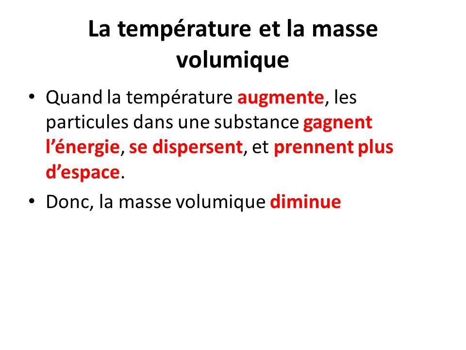La température et la masse volumique Quand la température augmente, les particules dans une substance gagnent l'énergie, se dispersent, et prennent pl