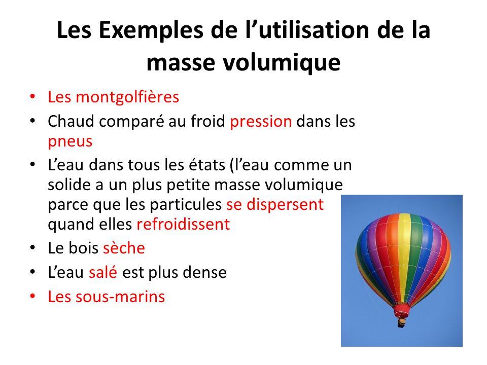 Les Exemples de l'utilisation de la masse volumique Les montgolfières Chaud comparé au froid pression dans les pneus L'eau dans tous les états (l'eau