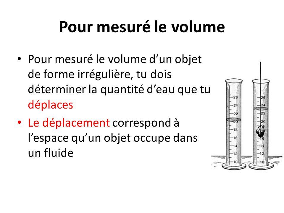 Pour mesuré le volume Pour mesuré le volume d'un objet de forme irrégulière, tu dois déterminer la quantité d'eau que tu déplaces Le déplacement corre