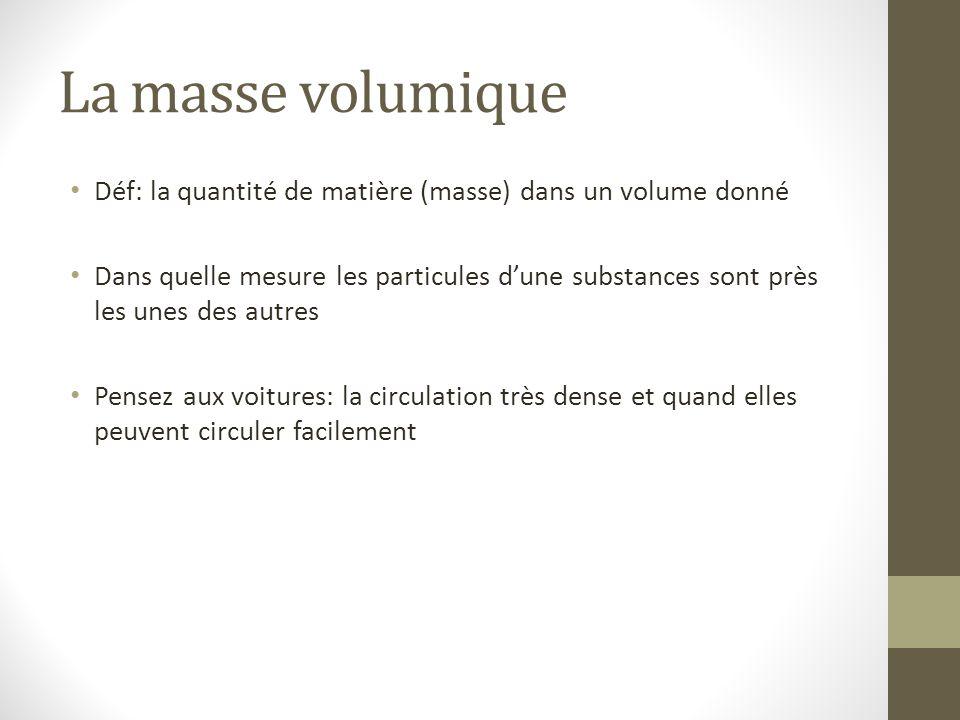La masse volumique Déf: la quantité de matière (masse) dans un volume donné Dans quelle mesure les particules d'une substances sont près les unes des
