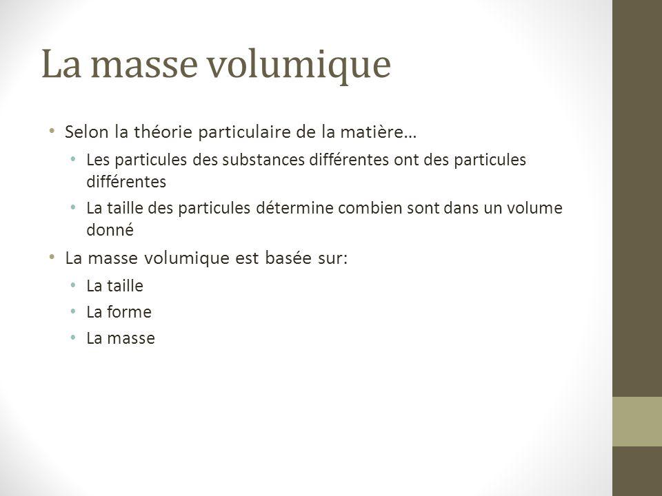 La masse volumique Selon la théorie particulaire de la matière… Les particules des substances différentes ont des particules différentes La taille des