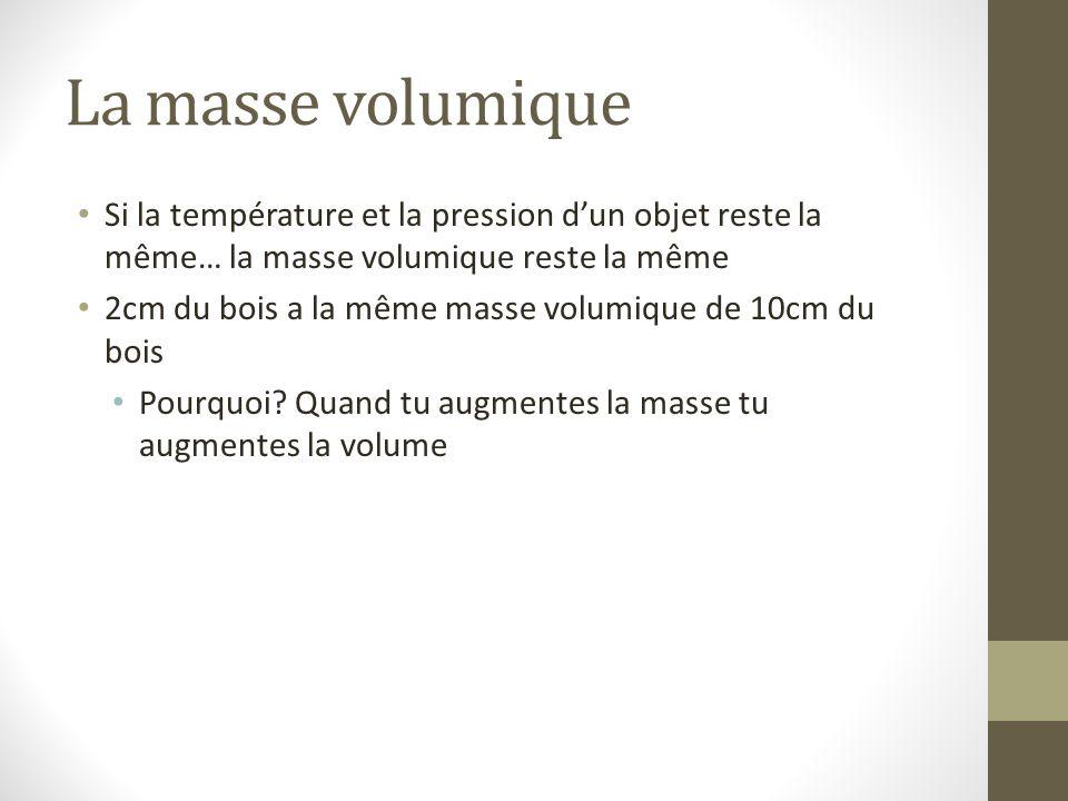 La masse volumique Si la température et la pression d'un objet reste la même… la masse volumique reste la même 2cm du bois a la même masse volumique d