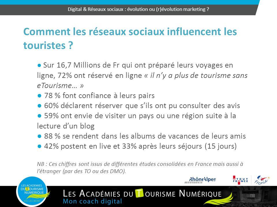 50 Comment les réseaux sociaux influencent les touristes ? ● Sur 16,7 Millions de Fr qui ont préparé leurs voyages en ligne, 72% ont réservé en ligne
