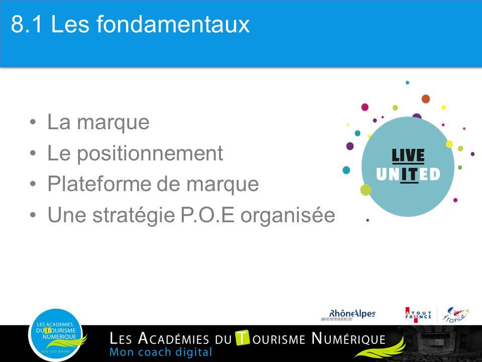 1. Les fondamentaux La marque Le positionnement Plateforme de marque Une stratégie P.O.E organisée 8.1 Les fondamentaux