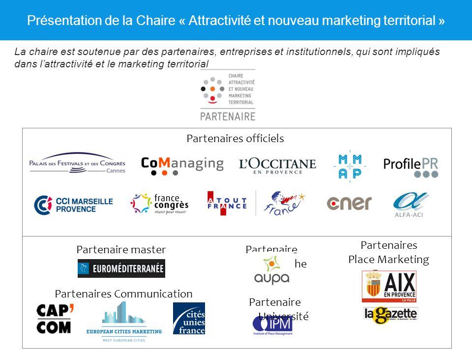 Présentation de la Chaire « Attractivité et nouveau marketing territorial » Partenaires officiels Partenaire Recherche Partenaires Place Marketing For
