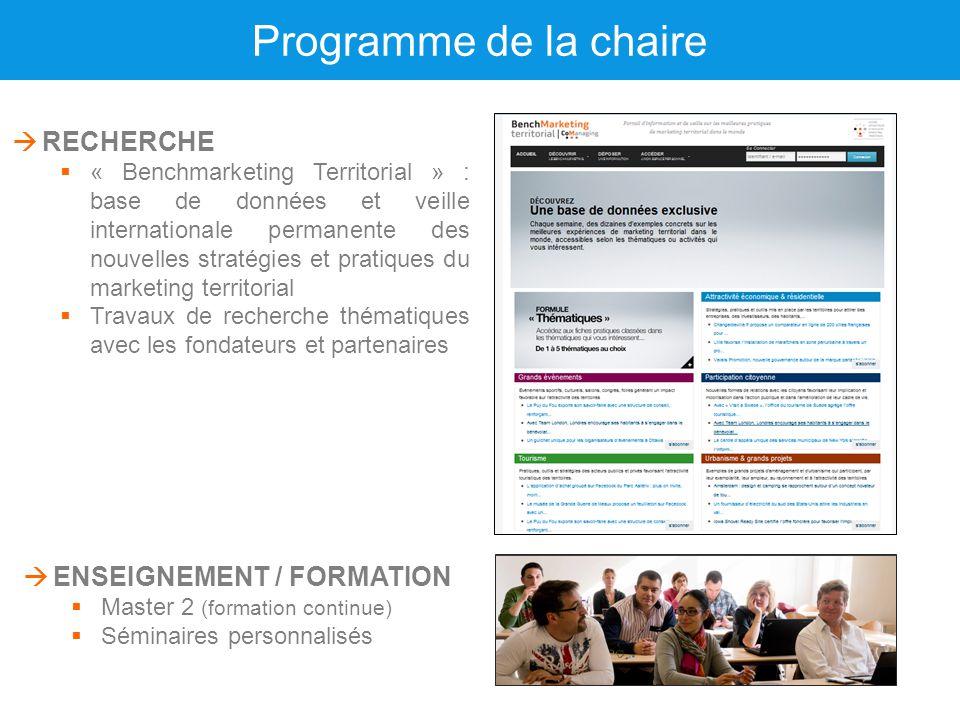 Programme de la chaire  ENSEIGNEMENT / FORMATION  Master 2 (formation continue)  Séminaires personnalisés  RECHERCHE  « Benchmarketing Territoria