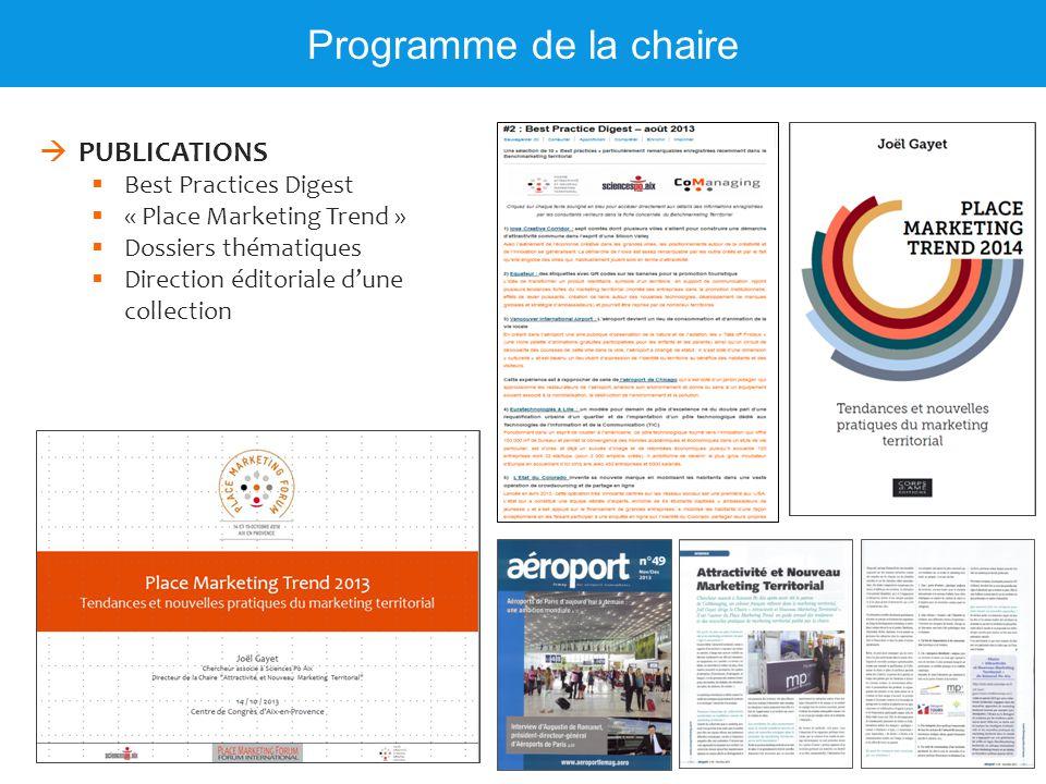 Programme de la chaire  PUBLICATIONS  Best Practices Digest  « Place Marketing Trend »  Dossiers thématiques  Direction éditoriale d'une collecti