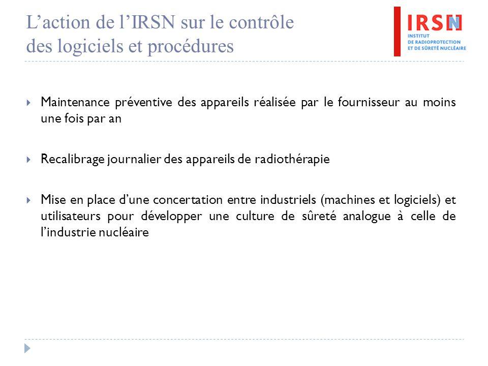 L'action de l'IRSN sur le contrôle des logiciels et procédures  Maintenance préventive des appareils réalisée par le fournisseur au moins une fois pa