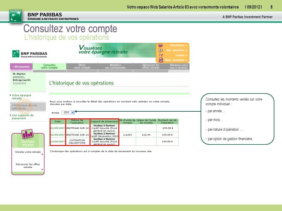 Votre espace Web Salariés Article 83 avec versements volontairesI 09/2012 I8 Consultez votre compte L'historique de vos opérations M.