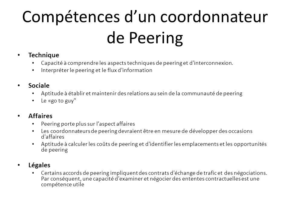 Compétences d'un coordonnateur de Peering Technique Capacité à comprendre les aspects techniques de peering et d'interconnexion. Interpréter le peerin