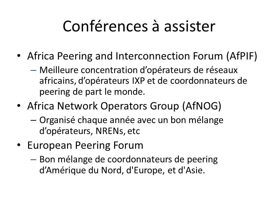 Conférences à assister Africa Peering and Interconnection Forum (AfPIF) – Meilleure concentration d'opérateurs de réseaux africains, d'opérateurs IXP