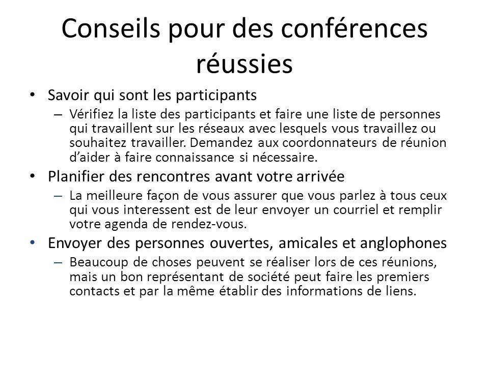 Conseils pour des conférences réussies Savoir qui sont les participants – Vérifiez la liste des participants et faire une liste de personnes qui trava