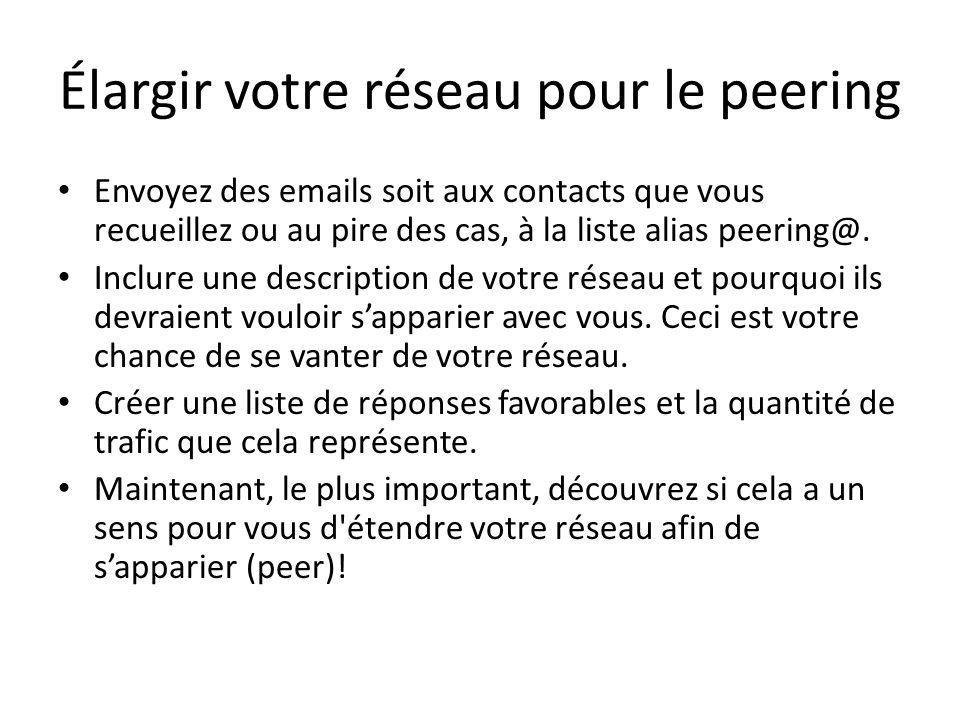 Élargir votre réseau pour le peering Envoyez des emails soit aux contacts que vous recueillez ou au pire des cas, à la liste alias peering@. Inclure u