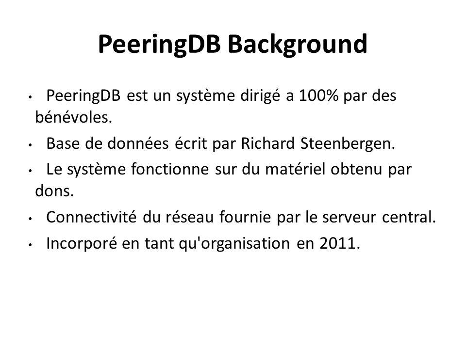 PeeringDB Background PeeringDB est un système dirigé a 100% par des bénévoles. Base de données écrit par Richard Steenbergen. Le système fonctionne su