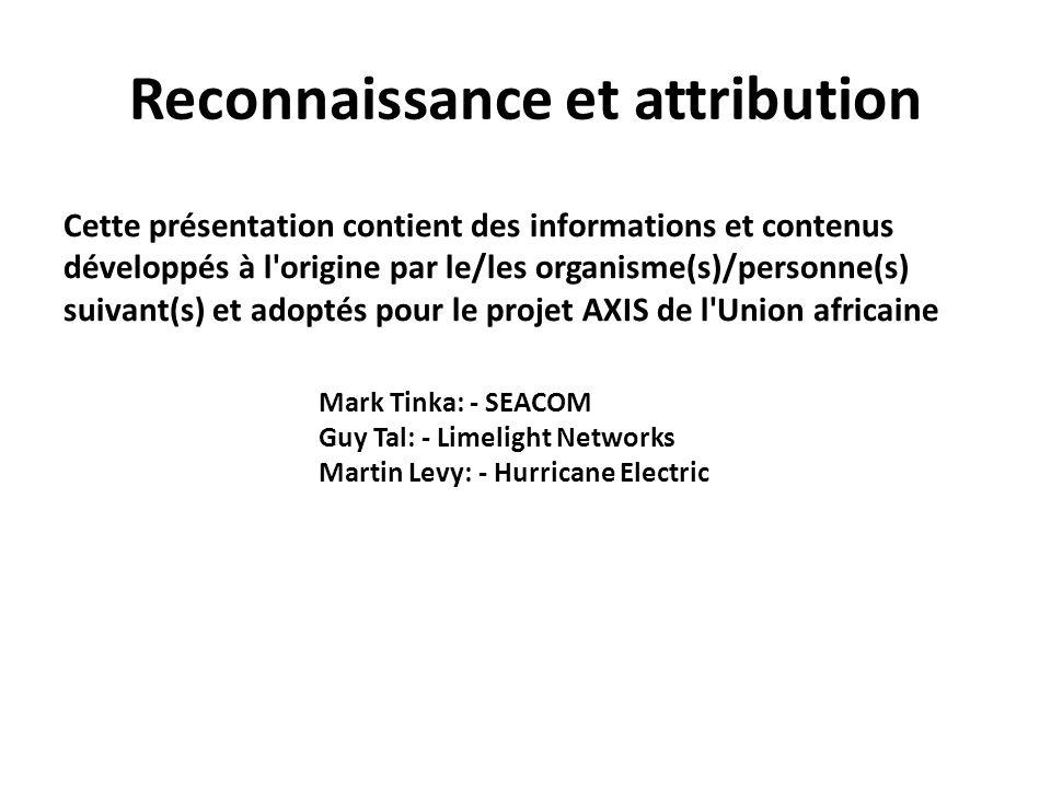 Reconnaissance et attribution Cette présentation contient des informations et contenus développés à l'origine par le/les organisme(s)/personne(s) suiv