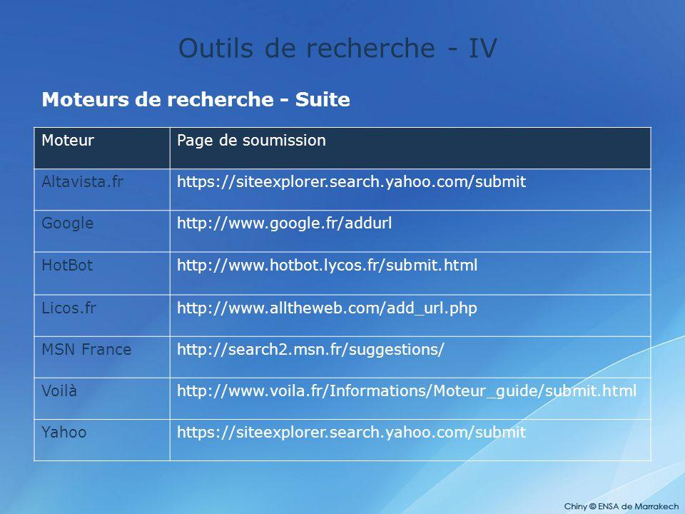 Outils de recherche - IV Moteurs de recherche - Suite MoteurPage de soumission Altavista.frhttps://siteexplorer.search.yahoo.com/submit Googlehttp://w