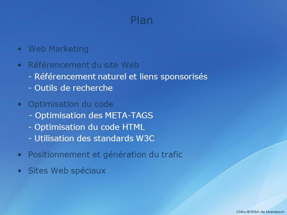 Plan Web Marketing Référencement du site Web - Référencement naturel et liens sponsorisés - Outils de recherche Optimisation du code - Optimisation de