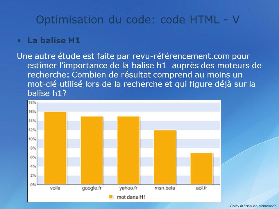 Optimisation du code: code HTML - V La balise H1 Une autre étude est faite par revu-référencement.com pour estimer l'importance de la balise h1 auprès