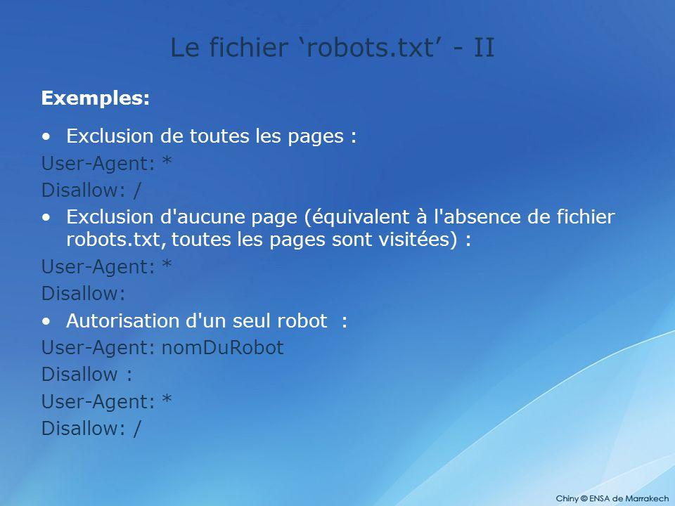 Le fichier 'robots.txt' - II Exemples: Exclusion de toutes les pages : User-Agent: * Disallow: / Exclusion d'aucune page (équivalent à l'absence de fi