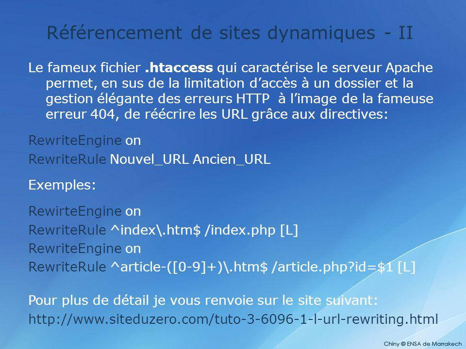 Référencement de sites dynamiques - II Le fameux fichier.htaccess qui caractérise le serveur Apache permet, en sus de la limitation d'accès à un dossi
