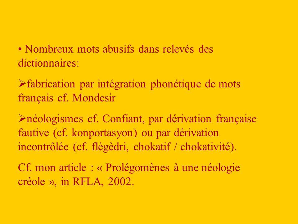 Nombreux mots abusifs dans relevés des dictionnaires:  fabrication par intégration phonétique de mots français cf.