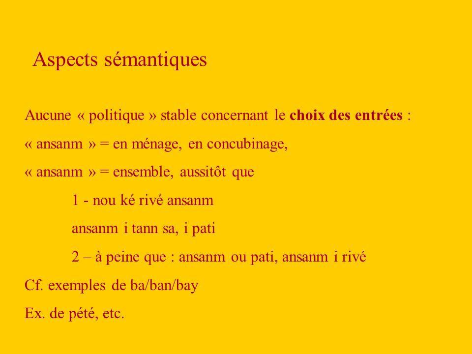 Aucune « politique » stable concernant le choix des entrées : « ansanm » = en ménage, en concubinage, « ansanm » = ensemble, aussitôt que 1 - nou ké rivé ansanm ansanm i tann sa, i pati 2 – à peine que : ansanm ou pati, ansanm i rivé Cf.
