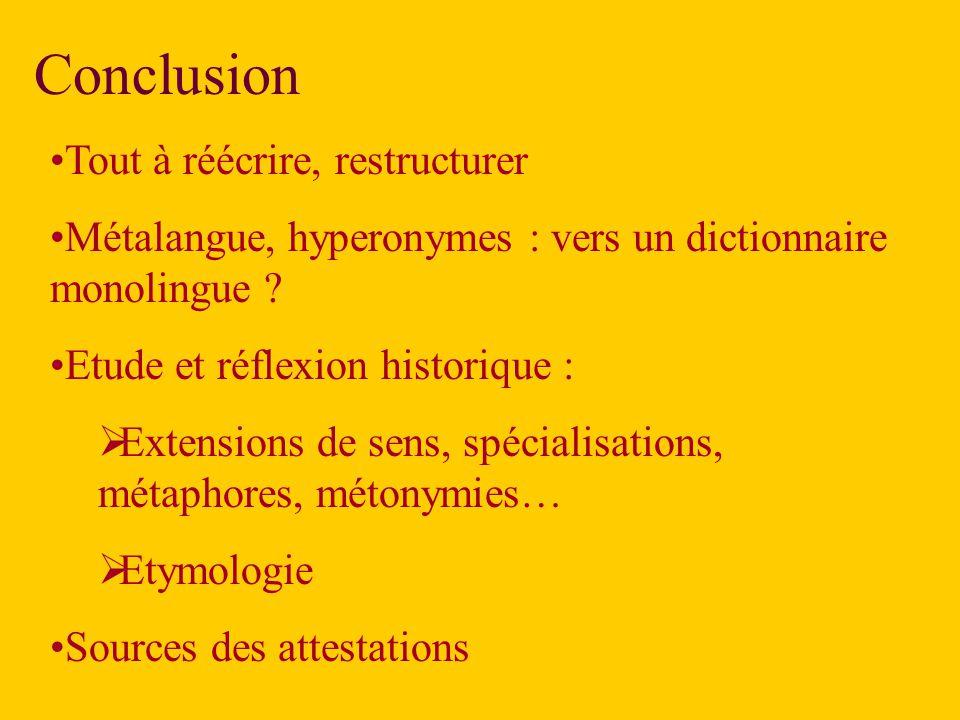 Conclusion Tout à réécrire, restructurer Métalangue, hyperonymes : vers un dictionnaire monolingue .