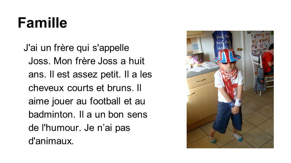 Famille J'ai un frère qui s'appelle Joss. Mon frère Joss a huit ans. Il est assez petit. Il a les cheveux courts et bruns. Il aime jouer au football e