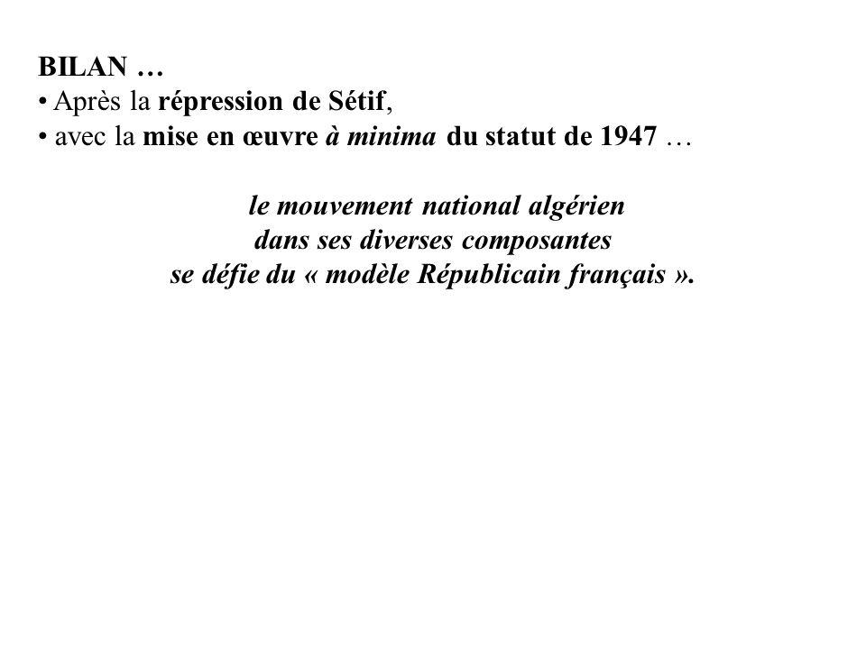 BILAN … Après la répression de Sétif, avec la mise en œuvre à minima du statut de 1947 … le mouvement national algérien dans ses diverses composantes