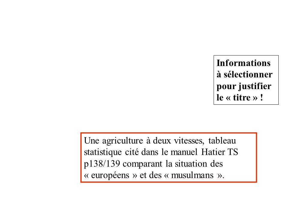 Informations à sélectionner pour justifier le « titre » ! Une agriculture à deux vitesses, tableau statistique cité dans le manuel Hatier TS p138/139