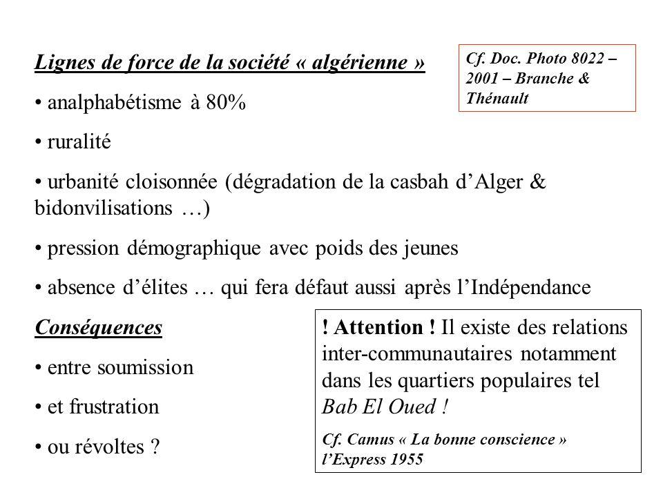 Lignes de force de la société « algérienne » analphabétisme à 80% ruralité urbanité cloisonnée (dégradation de la casbah d'Alger & bidonvilisations …)