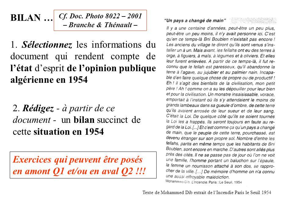 BILAN … Cf. Doc. Photo 8022 – 2001 – Branche & Thénault – 1. Sélectionnez les informations du document qui rendent compte de l'état d'esprit de l'opin