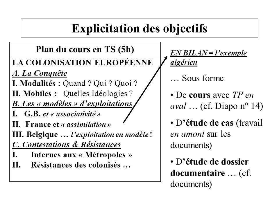 Explicitation des objectifs EN BILAN = l'exemple algérien … Sous forme De cours avec TP en aval … (cf. Diapo n° 14) D'étude de cas (travail en amont s