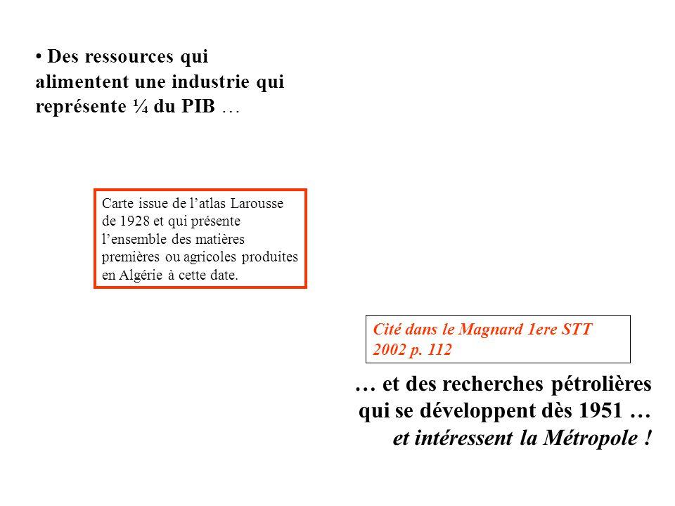 Cité dans le Magnard 1ere STT 2002 p. 112 Des ressources qui alimentent une industrie qui représente ¼ du PIB … … et des recherches pétrolières qui se