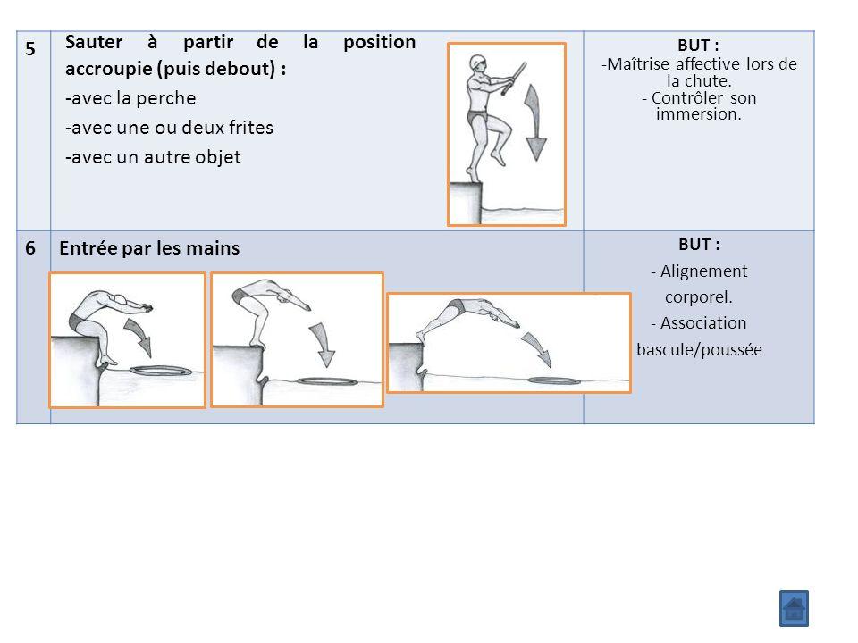 5 Sauter à partir de la position accroupie (puis debout) : -avec la perche -avec une ou deux frites -avec un autre objet BUT : -Maîtrise affective lors de la chute.