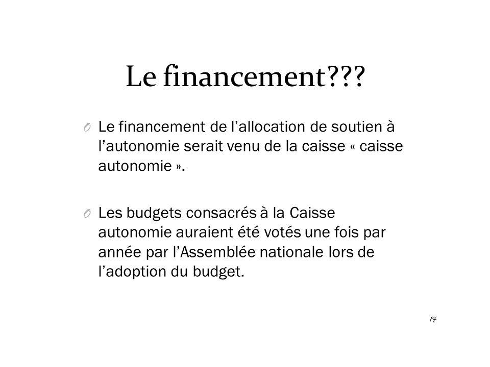 Le financement??? O Le financement de l'allocation de soutien à l'autonomie serait venu de la caisse « caisse autonomie ». O Les budgets consacrés à l
