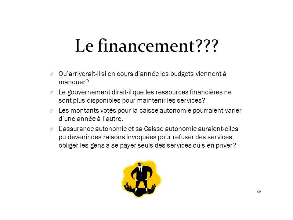 Le financement??? O Qu'arriverait-il si en cours d'année les budgets viennent à manquer? O Le gouvernement dirait-il que les ressources financières ne
