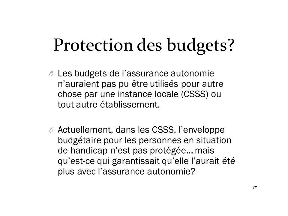 Protection des budgets? O Les budgets de l'assurance autonomie n'auraient pas pu être utilisés pour autre chose par une instance locale (CSSS) ou tout