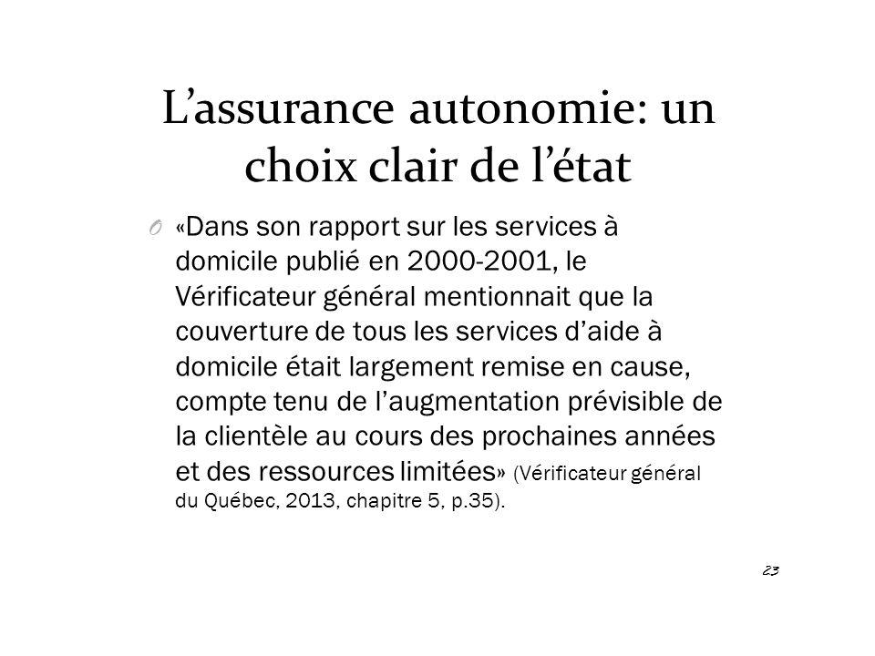 L'assurance autonomie: un choix clair de l'état O «Dans son rapport sur les services à domicile publié en 2000-2001, le Vérificateur général mentionna