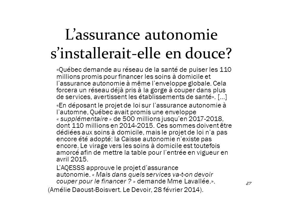 L'assurance autonomie s'installerait-elle en douce? «Québec demande au réseau de la santé de puiser les 110 millions promis pour financer les soins à