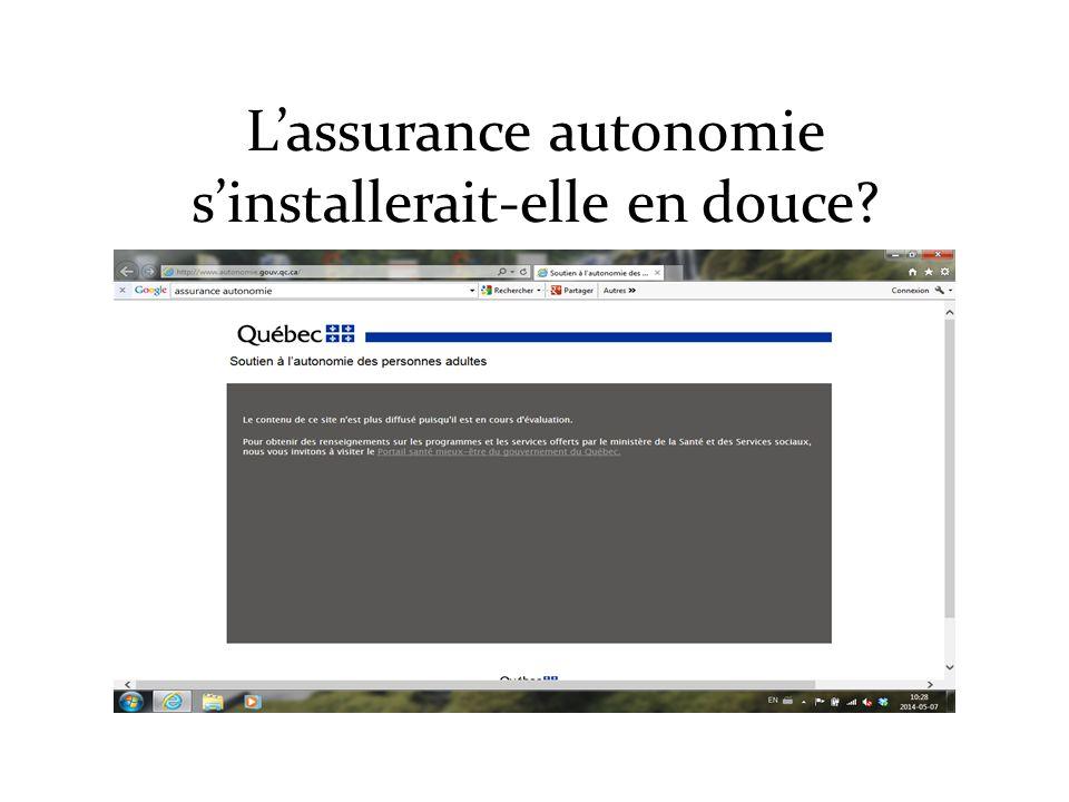 L'assurance autonomie s'installerait-elle en douce?