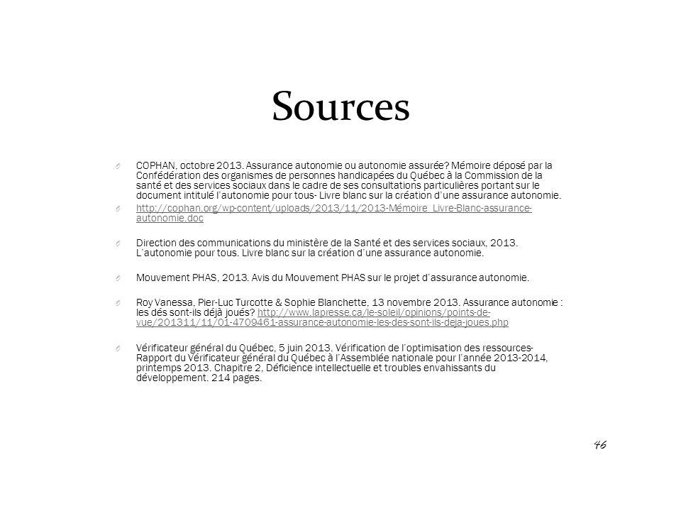 Sources O COPHAN, octobre 2013. Assurance autonomie ou autonomie assurée? Mémoire déposé par la Confédération des organismes de personnes handicapées