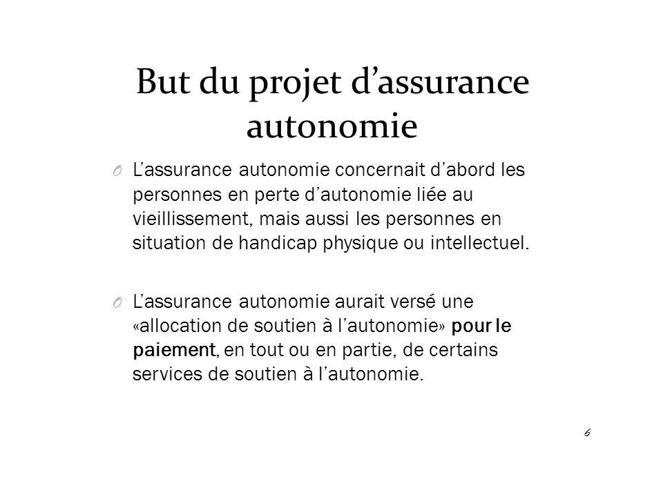 But du projet d'assurance autonomie O L'assurance autonomie concernait d'abord les personnes en perte d'autonomie liée au vieillissement, mais aussi l